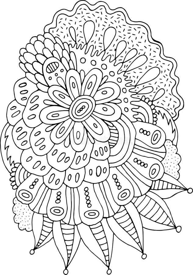 Arte floreale della mandala di scarabocchio dell'estratto Illustrazione al tratto disegnato a mano del fiore di boho del fumetto  illustrazione vettoriale