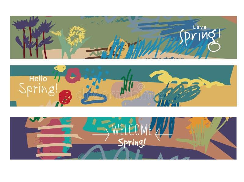 Arte floreale e segno della molla orizzontale stabilita delle insegne dell'estratto illustrazione vettoriale