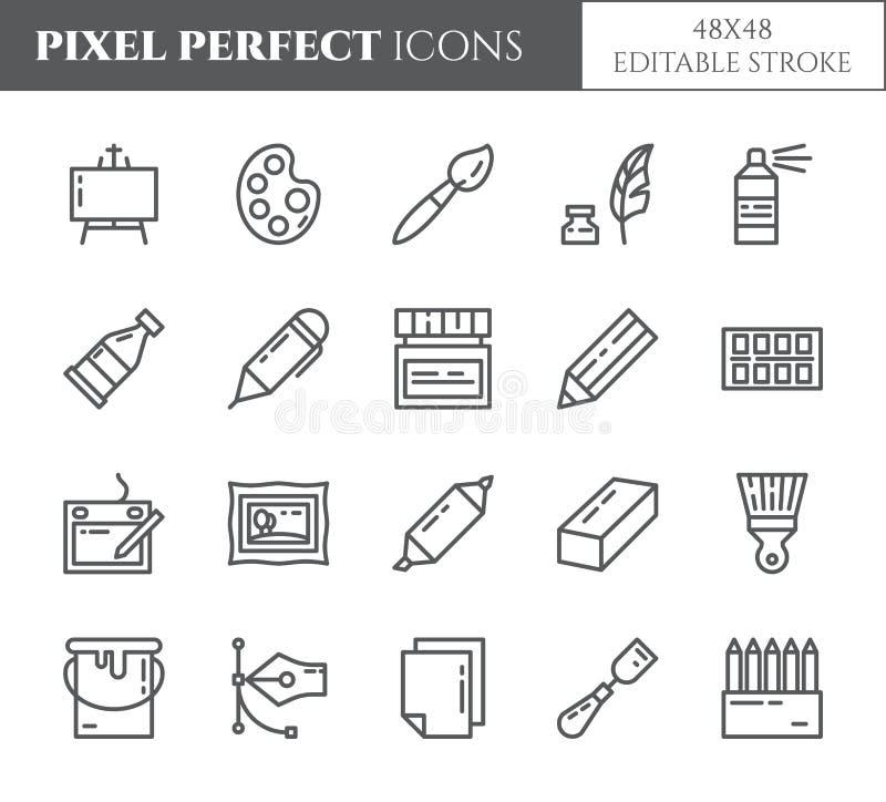A arte fornece a linha fina perfeita ícones do pixel do tema Grupo de elementos do pincel, da tabuleta gráfica, da lona, da palet ilustração do vetor