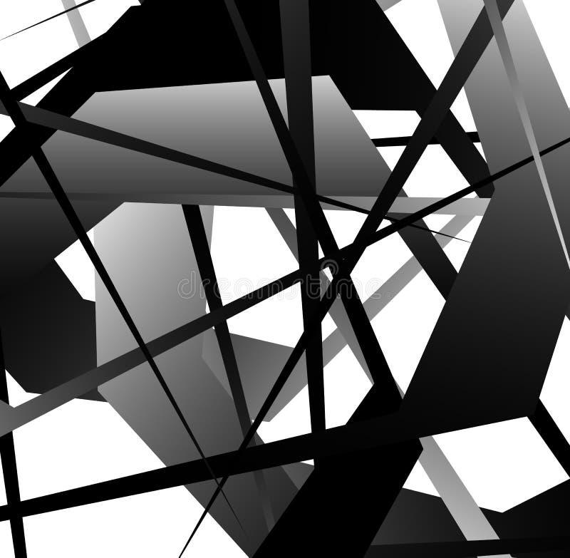 Arte geométrica abstrata com formas aleatórias, dispersadas ilustração do vetor