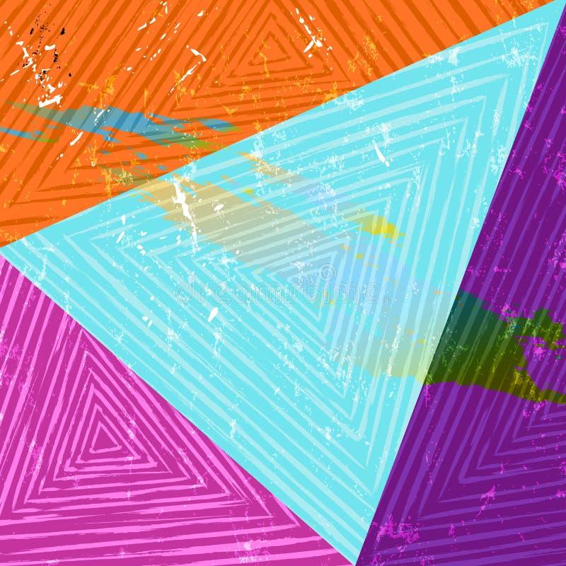 Arte geométrico abstracto, triángulos, rayas, estructura del grunge ilustración del vector