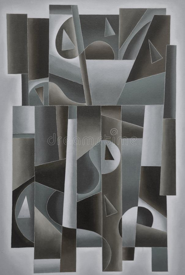 Arte geométrico de Digitaces negro y gris stock de ilustración
