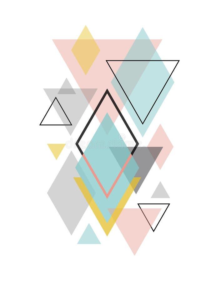 Arte geometrica astratta scandinava minimalista illustrazione di stock