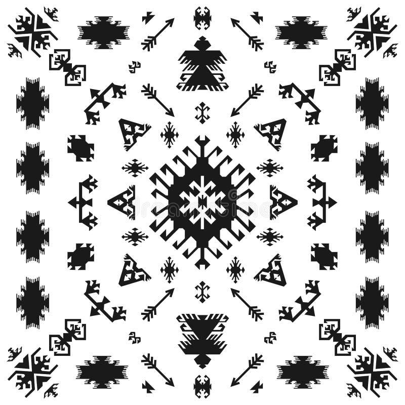 Arte geometrica tradizionale etnica indiana del nativo americano con i retro elementi di progettazione e lo stile tribale navajo  illustrazione di stock