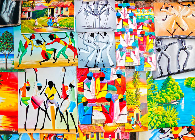 Arte giamaicana caraibica variopinta   fotografia stock libera da diritti