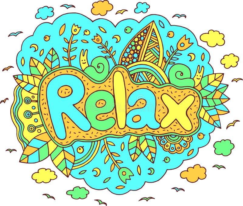 A arte gráfica com mandala e relaxa a palavra Surrea da rotulação da garatuja ilustração royalty free