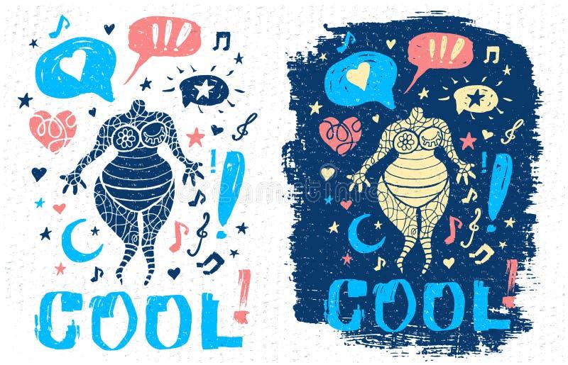 Arte gráfica do slogan fresco engraçado da rotulação do estilo da garatuja da música do tema do caráter do gajo para cartazes da  ilustração do vetor