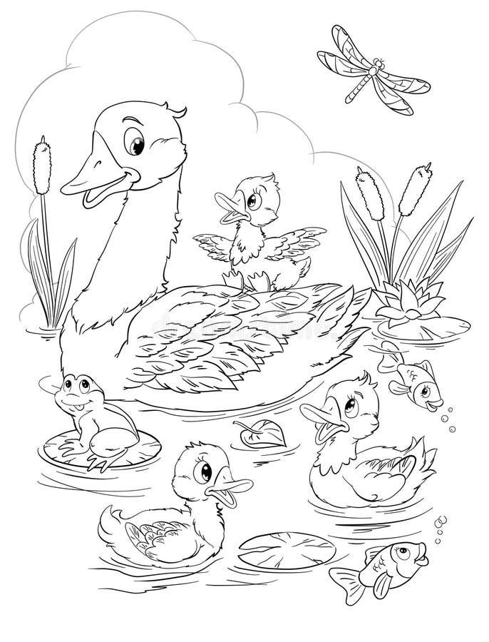 arte gr?fico aislado del pato y del anad?n en el ejemplo de la historieta del r?o del verano libre illustration