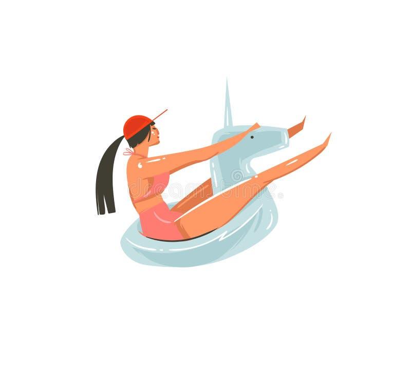 Arte gráfico dibujado mano de los ejemplos del tiempo de verano de la historieta del extracto del vector con la muchacha de la be stock de ilustración