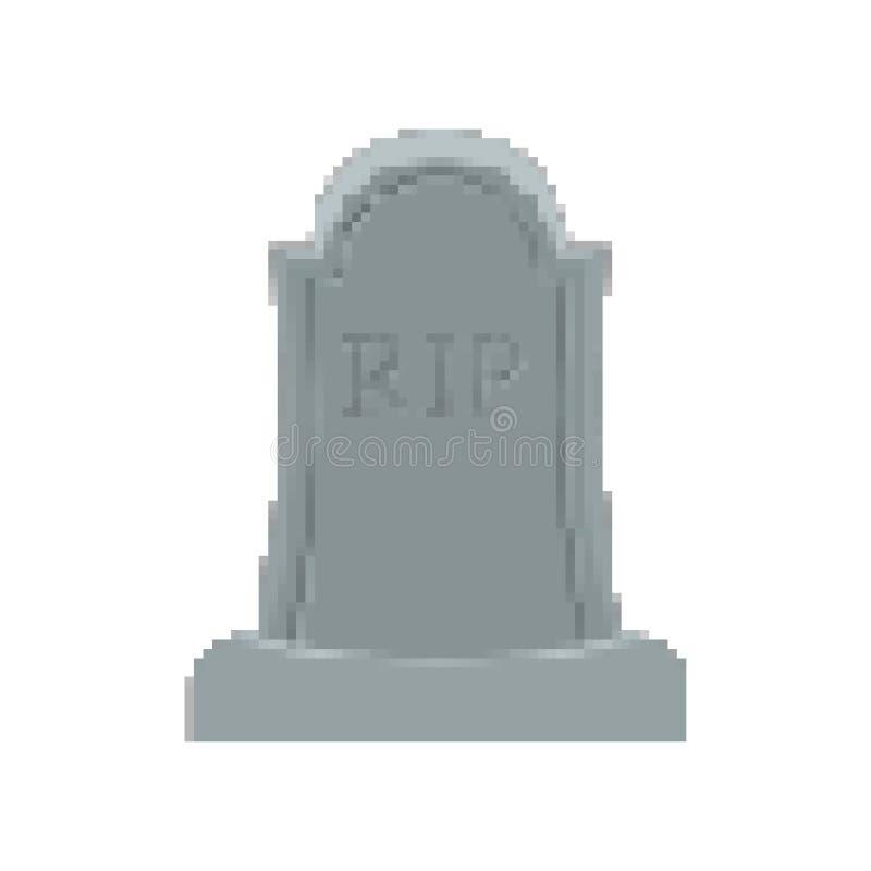 Arte grave del pixel Pedazo de la tumba 8 Lápida mortuaria Halloween Cementerio del RASGÓN stock de ilustración