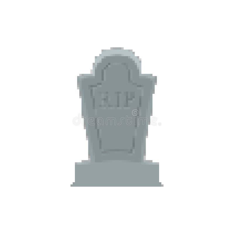 Arte grave del pixel Pedazo de la tumba 8 Lápida mortuaria Halloween Cementerio del RASGÓN ilustración del vector