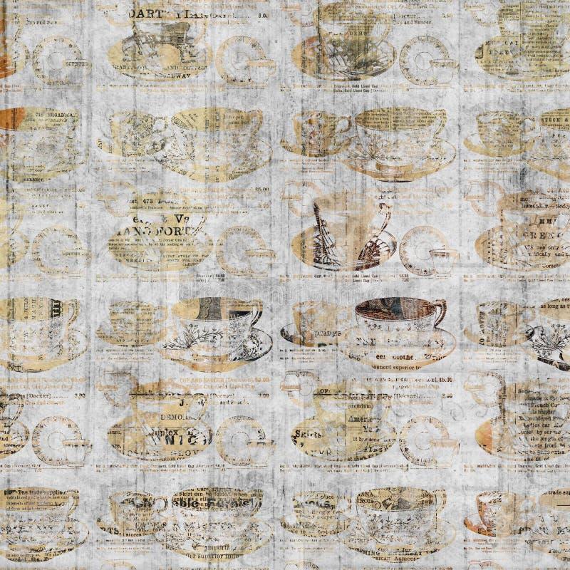 Arte Grungy della parete della tazza di caffè con il fondo d'annata del giornale illustrazione vettoriale