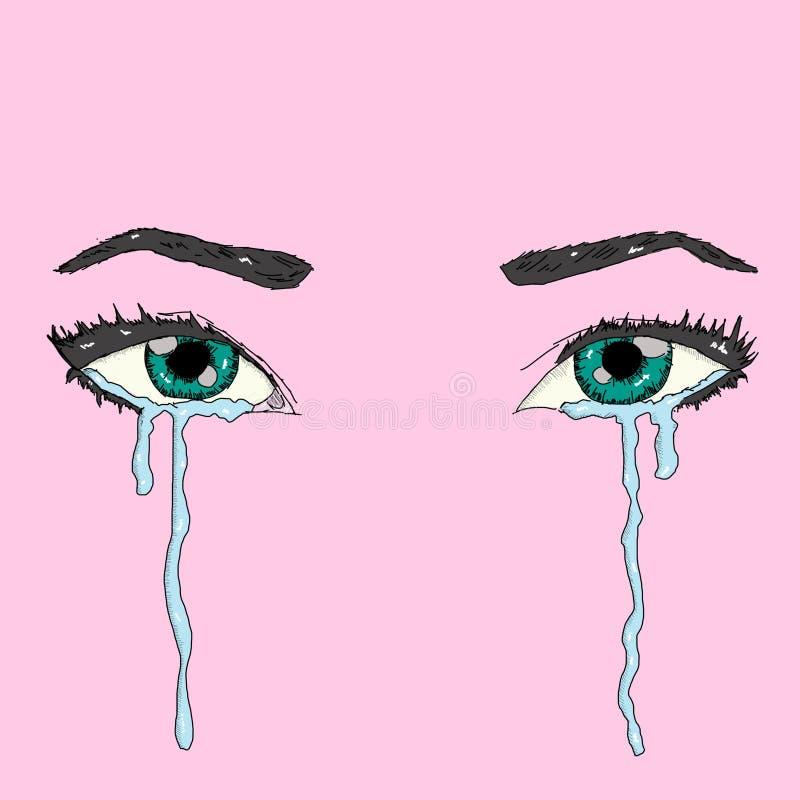 Arte hermoso del características faciales femeninas con los ojos llenos de rasgones en un fondo rosado stock de ilustración