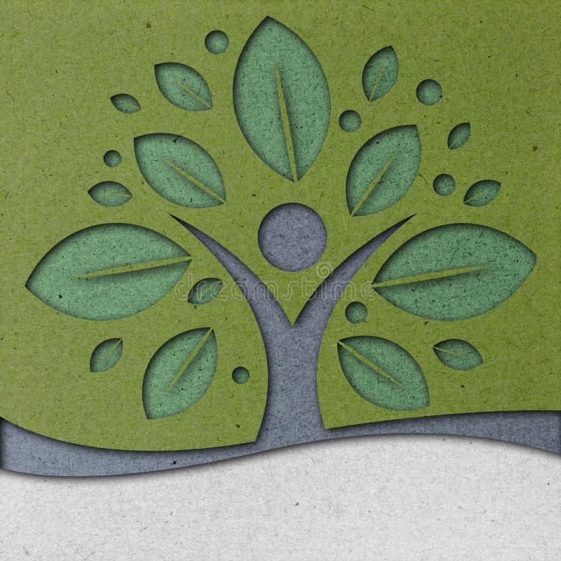 Arte humana do papel da árvore ilustração royalty free