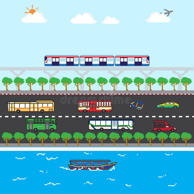 Arte ideal dos pixéis do transporte público de Banguecoque ilustração do vetor