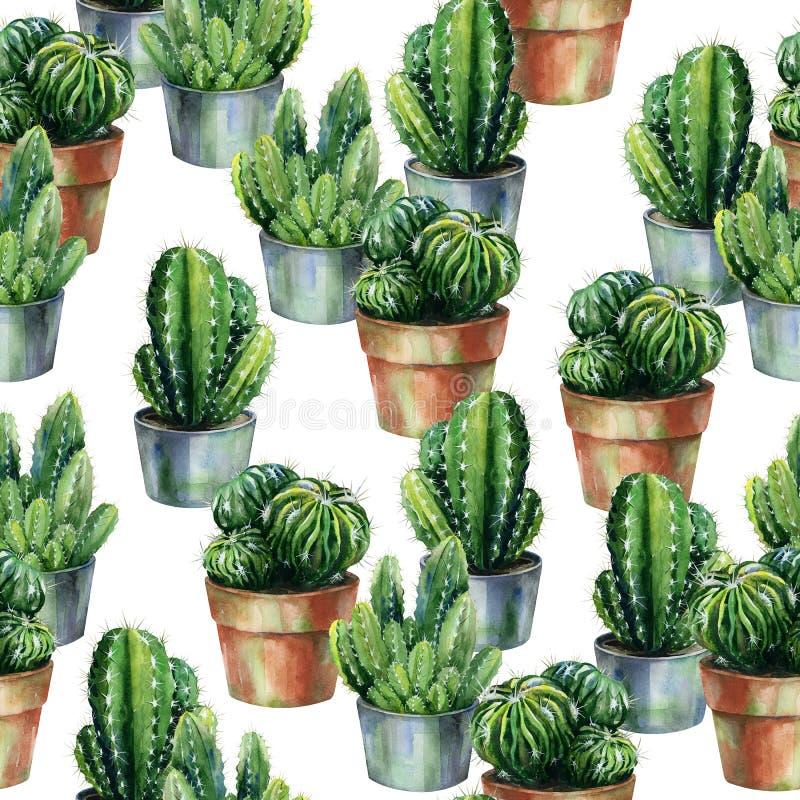 Arte inconsútil de la acuarela del modelo de los cactus ilustración del vector