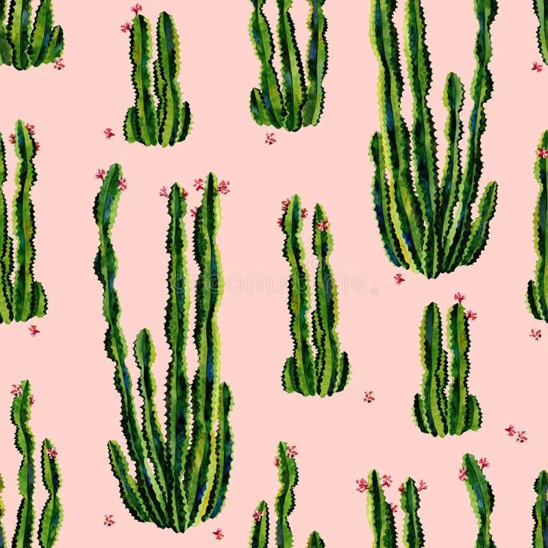 Arte inconsútil de la acuarela del modelo de los cactus imagen de archivo