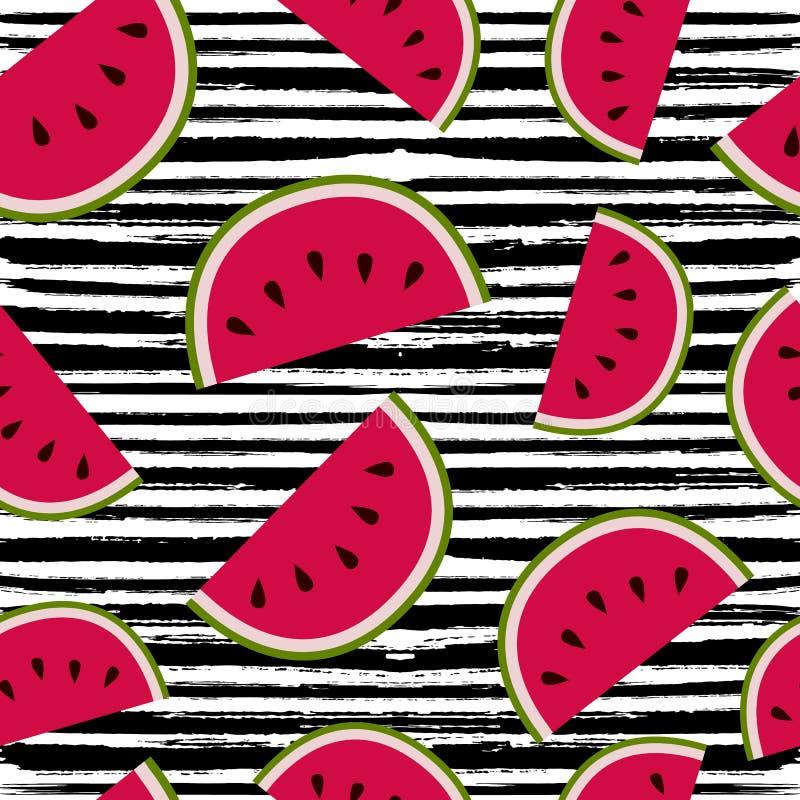 Arte inconsútil del modelo de la fruta de la sandía del verano ilustración del vector