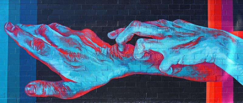 Arte increíble de la pared del gaffiti en Detroit imágenes de archivo libres de regalías
