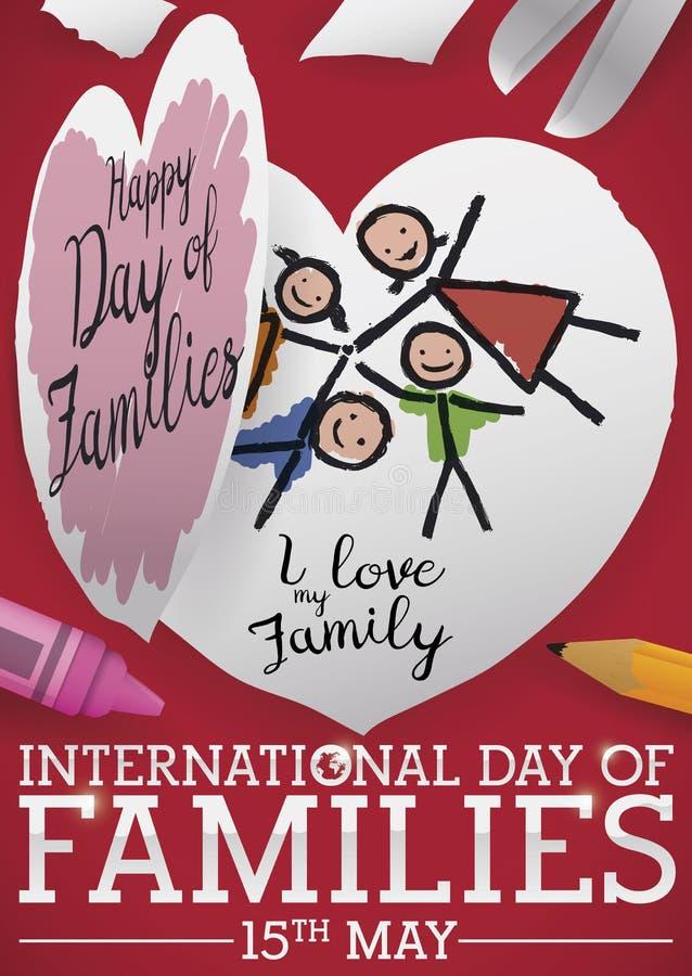 Arte infantil lindo para celebrar el día internacional de familias, ejemplo del vector stock de ilustración