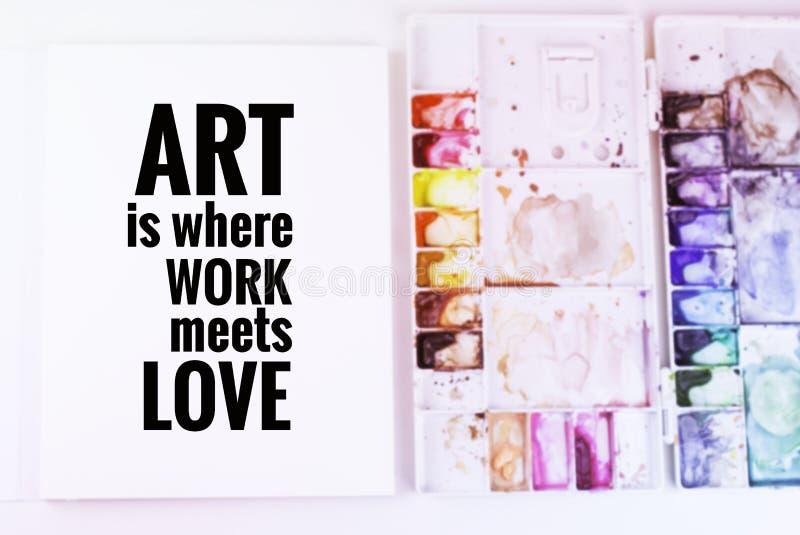 A arte inspirada das citações é onde o trabalho encontra o ` do amor fotos de stock