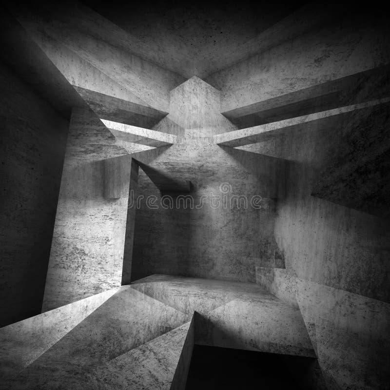 Arte interior concreta preta abstrata do fundo 3 d ilustração royalty free