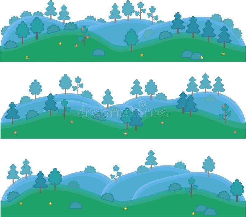 Arte isolada vetor para jogos Montes com árvores e arbustos imagem de stock royalty free