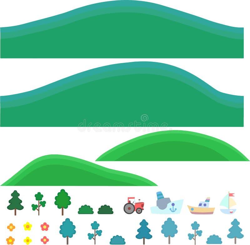 Arte isolada vetor para jogos Montes com árvores e arbustos imagens de stock royalty free