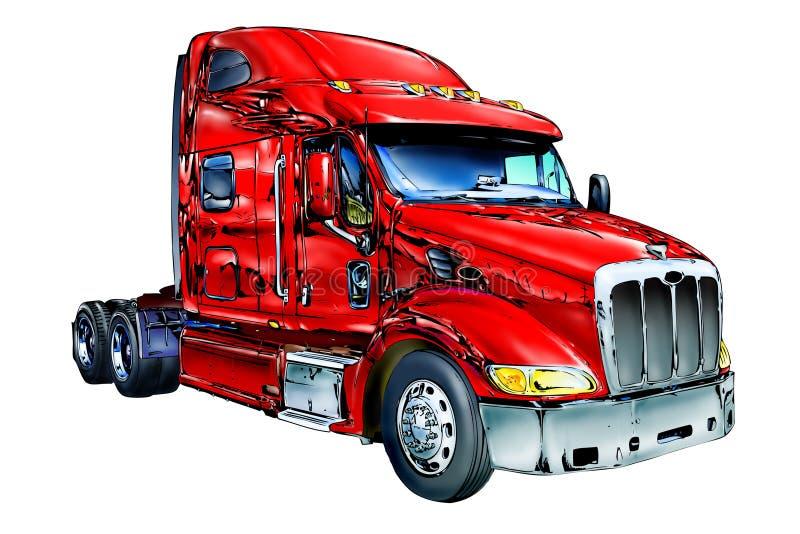 Arte isolata colore rosso dell'illustrazione del camion illustrazione di stock