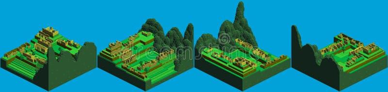 Arte isométrico del pixel de Machu Picchu ilustración del vector