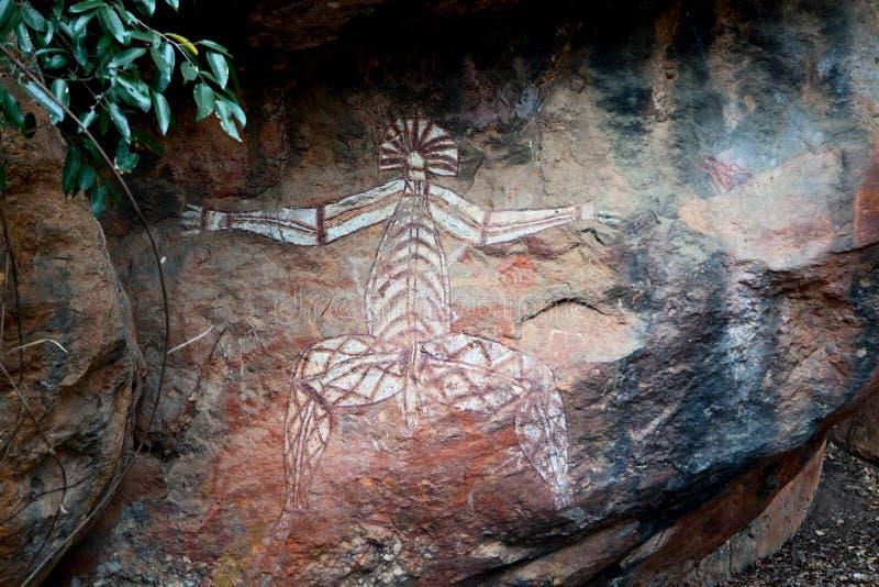Arte Kakadu de la pintura de la roca de los aborígenes foto de archivo libre de regalías
