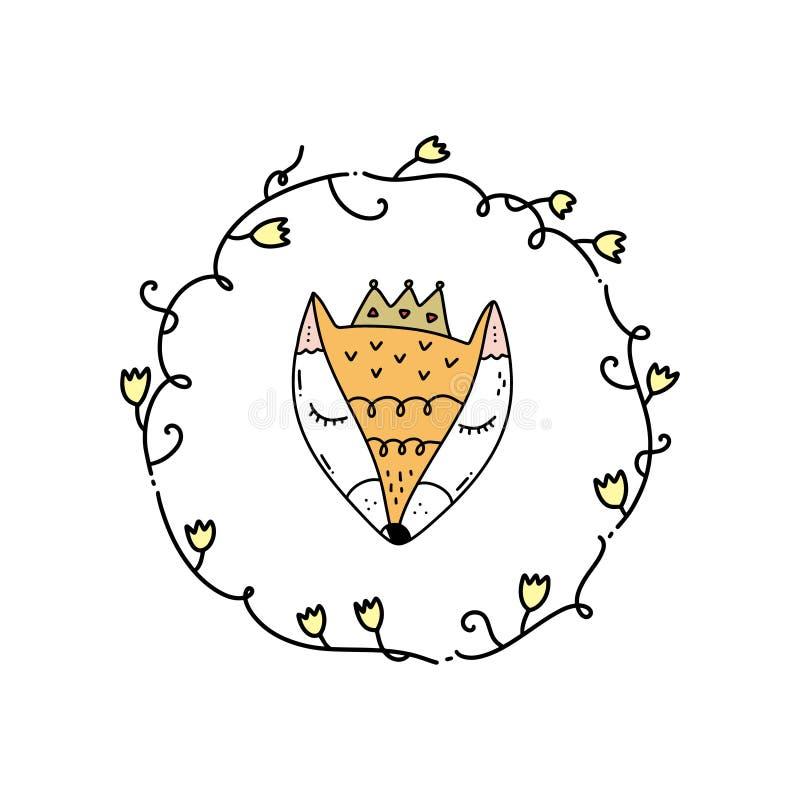 Arte lindo de la cara del zorro del vector pequeño y marco floral del boho Elemento del cartel y de la bandera, niños \ 'ejemplo  libre illustration