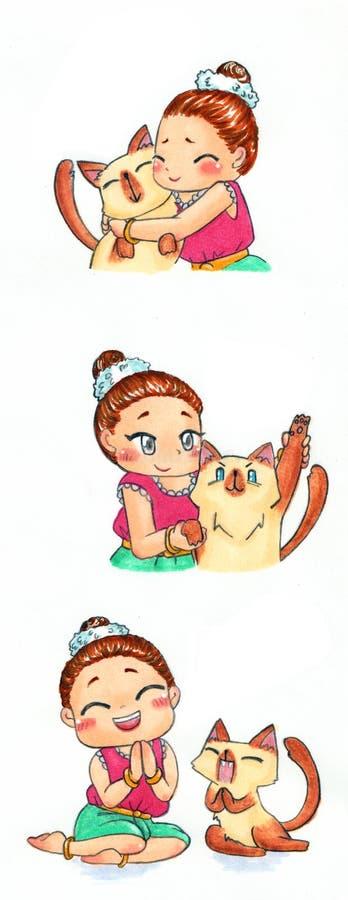 Arte lindo del dibujo del ejemplo de la mascota del personaje de dibujos animados de la muchacha tailandesa tradicional stock de ilustración