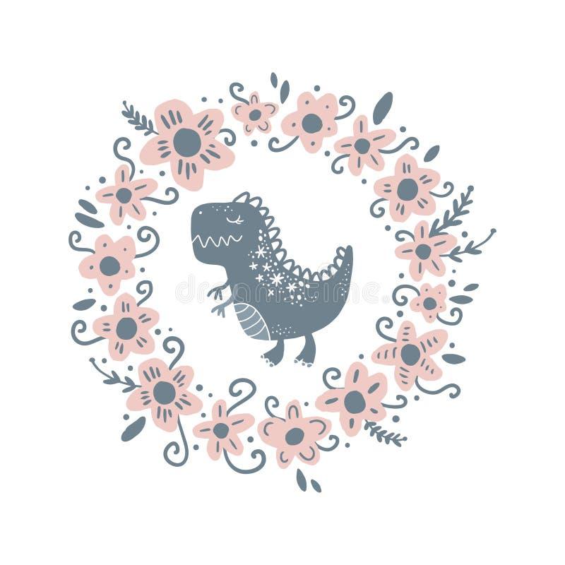 Arte lindo del dinosaurio del bebé del vector Ejemplo del cuarto de niños stock de ilustración