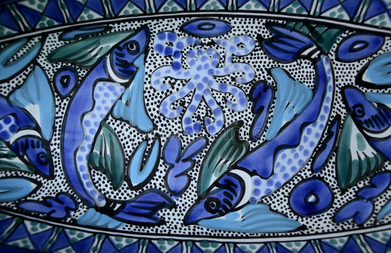 Arte luminosa di Aqua Blue Fishes Mediterranean Ceramic fotografia stock