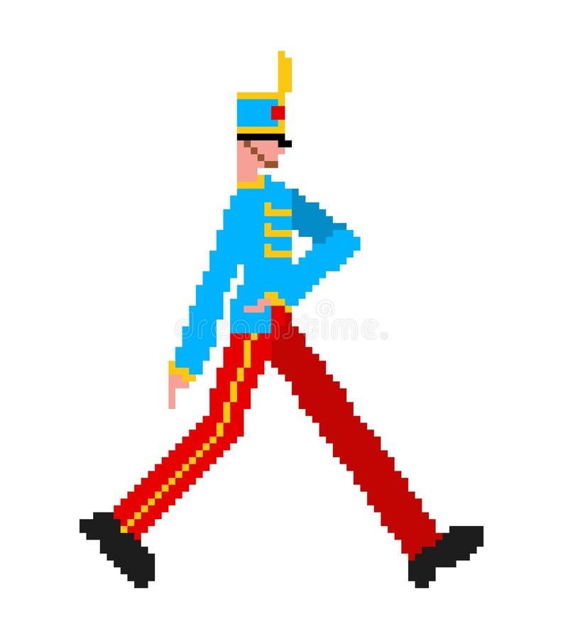 Arte in marcia del pixel del soldato membro della guardia 8bit la guardia ha arruolato l'uomo 8 pungente royalty illustrazione gratis