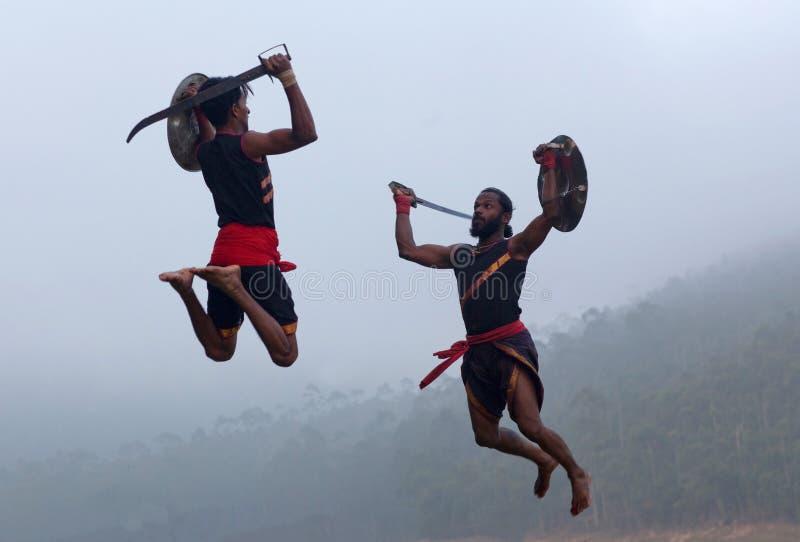 Arte marcial de Kalarippayattu em Kerala, Índia fotografia de stock