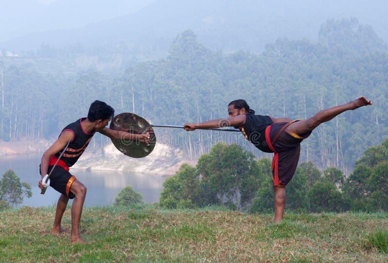 Arte marcial de Kalarippayattu em Kerala, Índia fotografia de stock royalty free