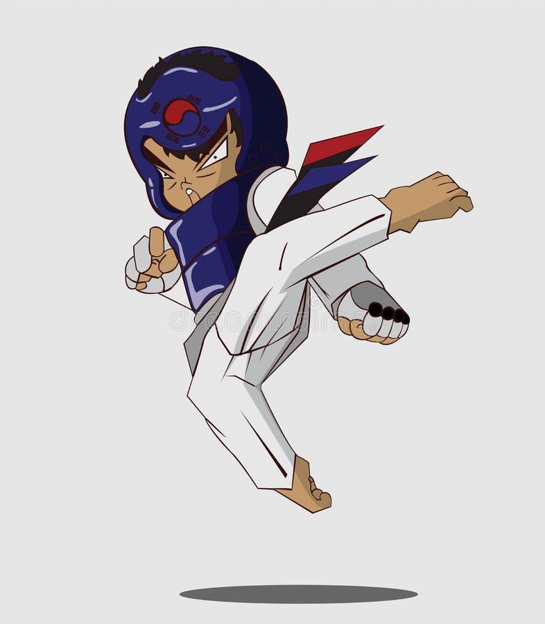 Arte marcial de Taekwondo ilustração stock