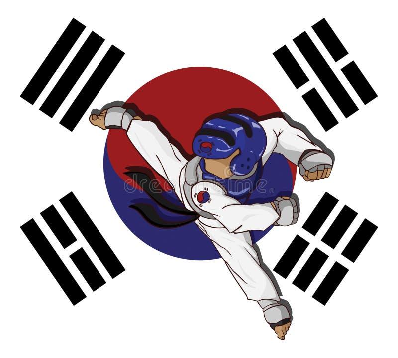 Arte marcial del Taekwondo stock de ilustración