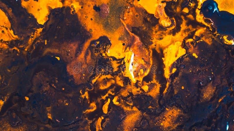 Arte marrom alaranjada do fundo da pintura acrílica do sumário imagem de stock