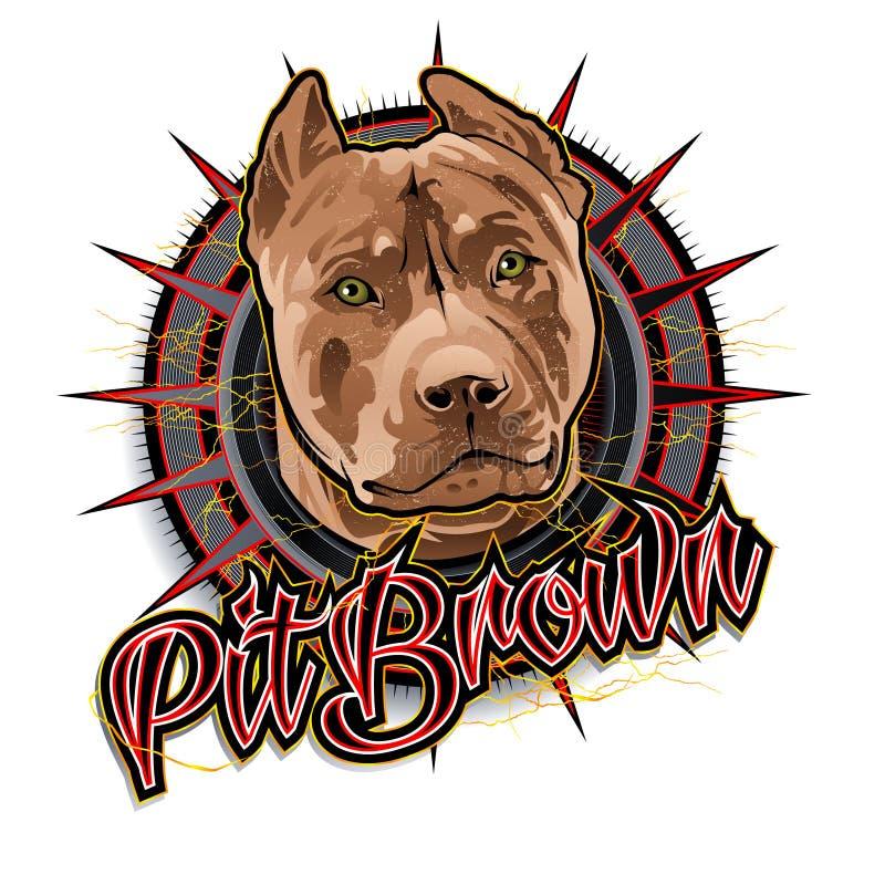Arte marrom do cão do poço ilustração royalty free