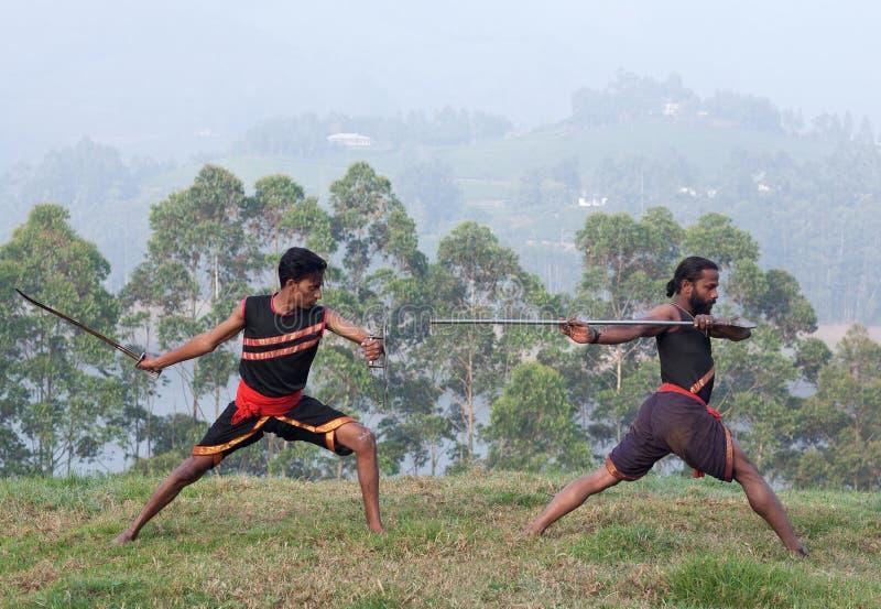 Arte marziale di Kalaripayattu nel Kerala, India fotografia stock