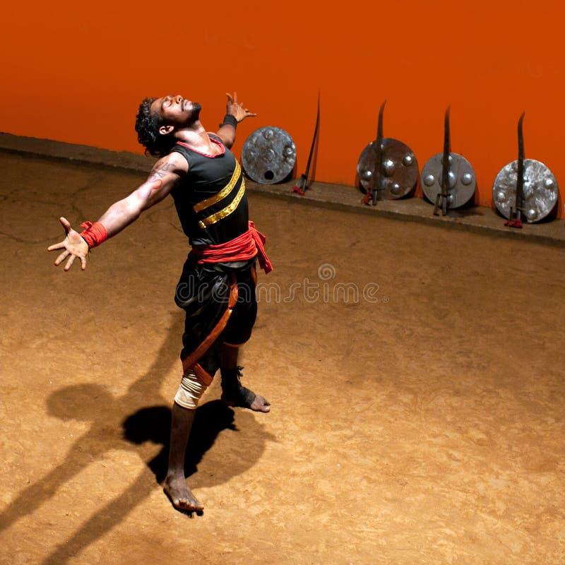 Arte marziale di Kalaripayattu nel Kerala, India del sud immagini stock libere da diritti