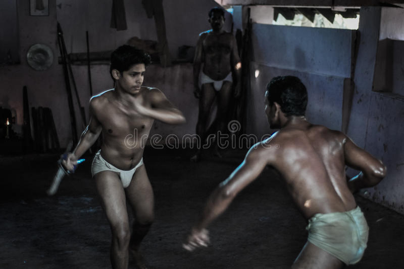 Arte marziale nel Kerala immagine stock libera da diritti