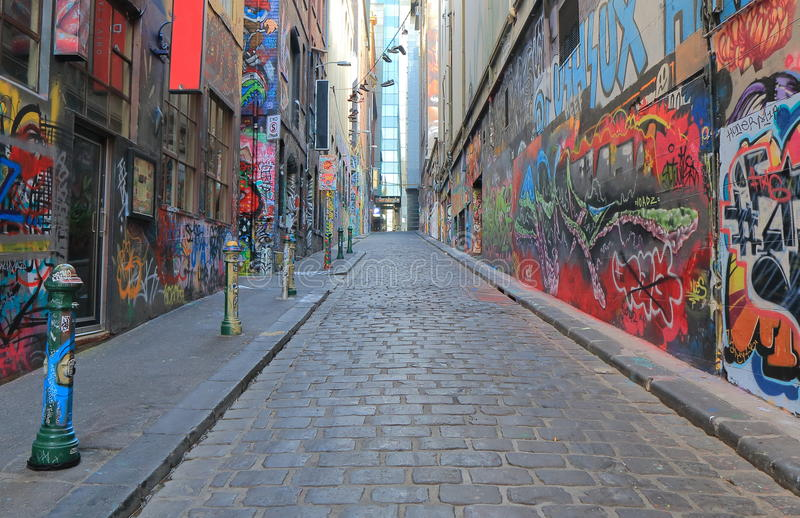 Arte Melbourne Australia de la calle de la pintada imagenes de archivo