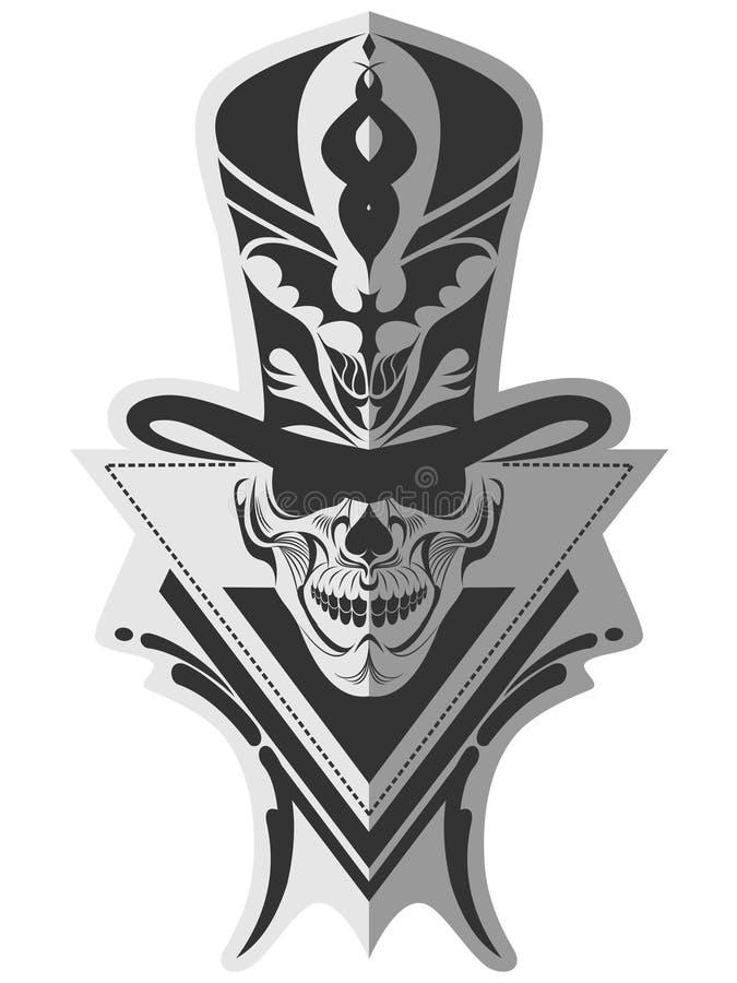 Arte memorabile di progettazione del cranio illustrazione di stock