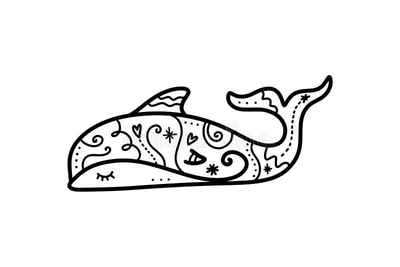 Arte modelada bonito do golfinho do vetor Elemento do cartaz e da bandeira, ilustração de livro de crianças, cartão ilustração do vetor