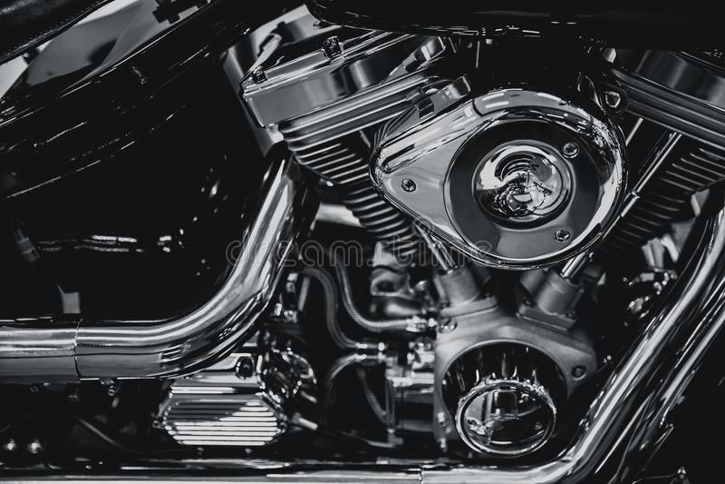 Arte moderna di lusso di Chopper Engine del cromo fotografia stock libera da diritti