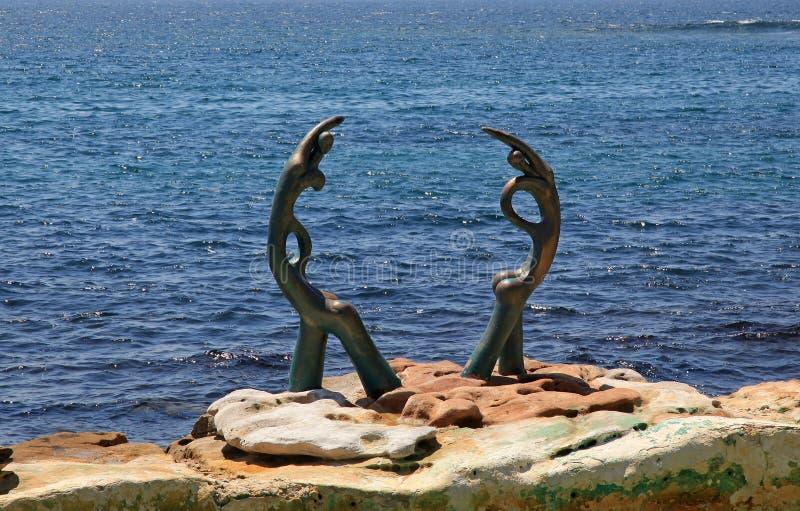 Arte moderna na praia viril fotografia de stock royalty free